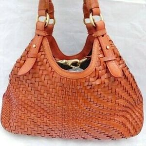 Cole Haan Genevieve orange woven leather tote